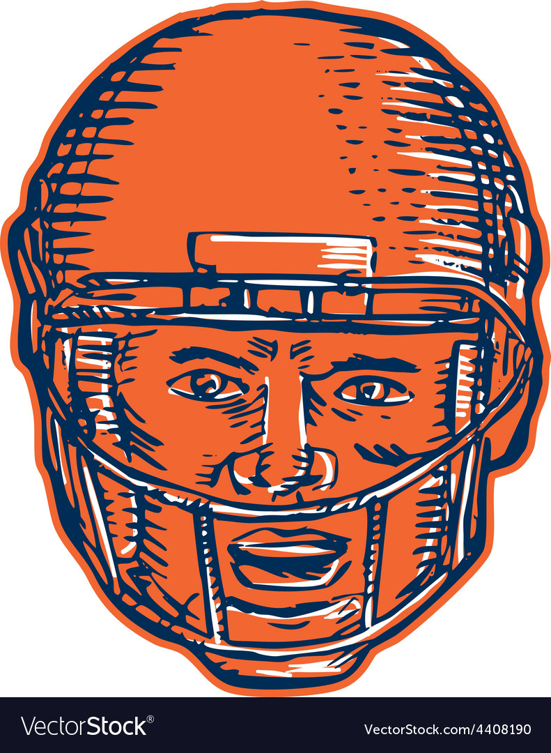 American football player head etching vector | Price: 1 Credit (USD $1)