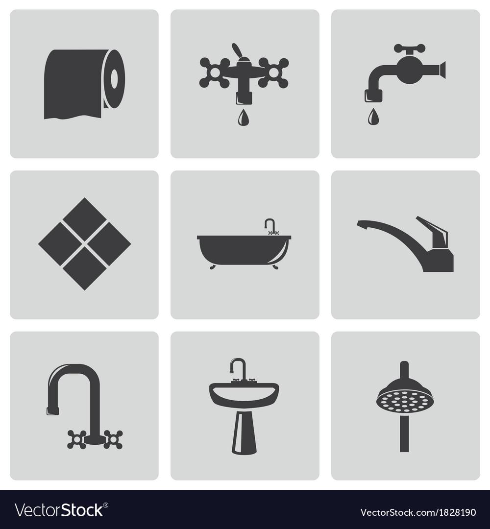 Black bathroom icons set vector   Price: 1 Credit (USD $1)