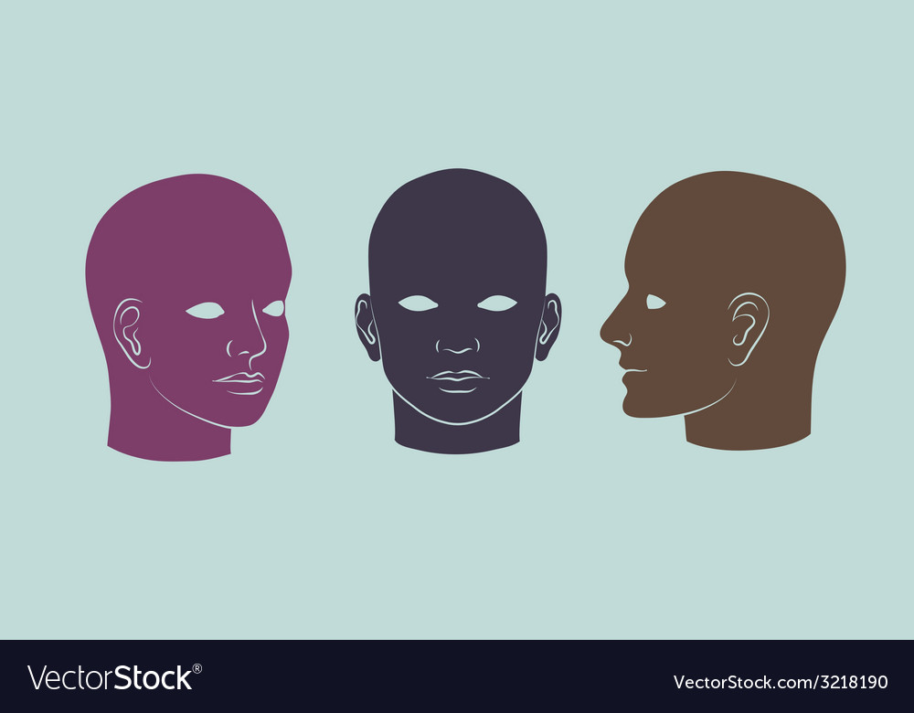Human heads full-face half-face and three-quarter vector | Price: 1 Credit (USD $1)