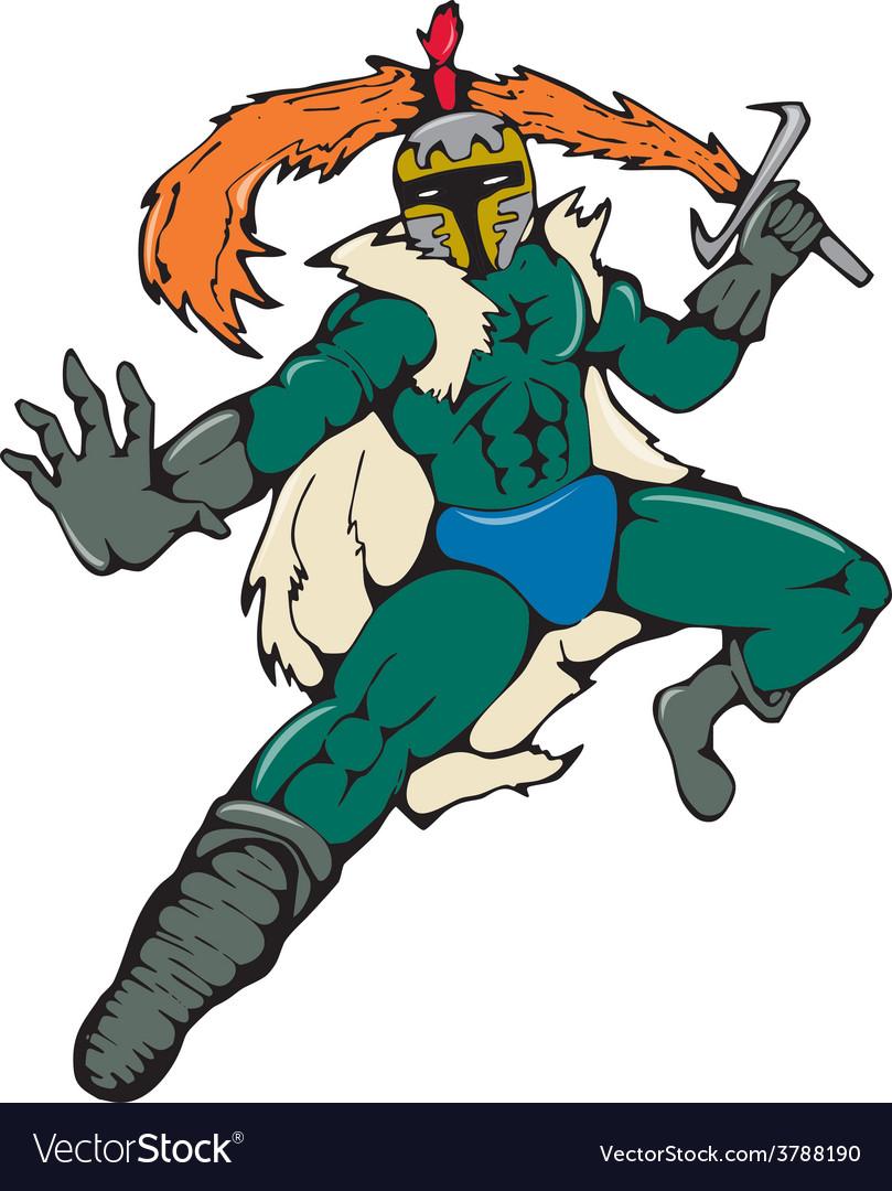 Knight wield fiery sword cartoon vector | Price: 1 Credit (USD $1)