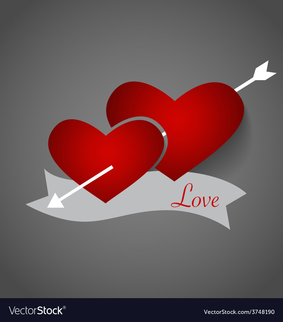 Red heart paper with shadow for valentines day vector | Price: 1 Credit (USD $1)