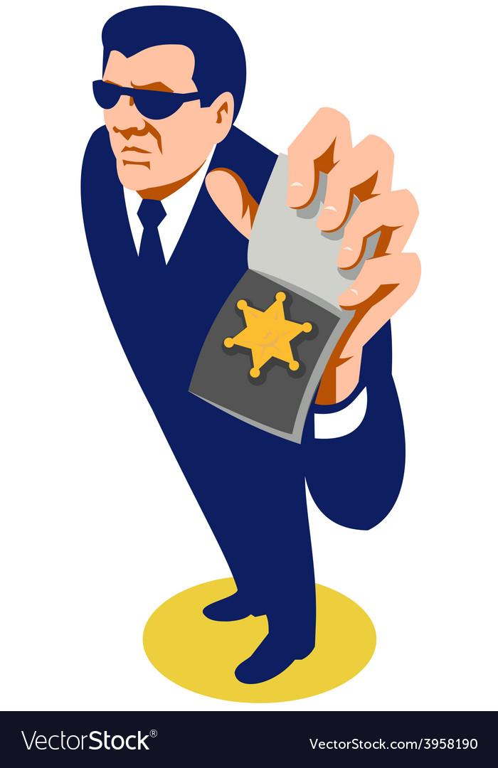 Secret agent showing id badge retro vector | Price: 1 Credit (USD $1)