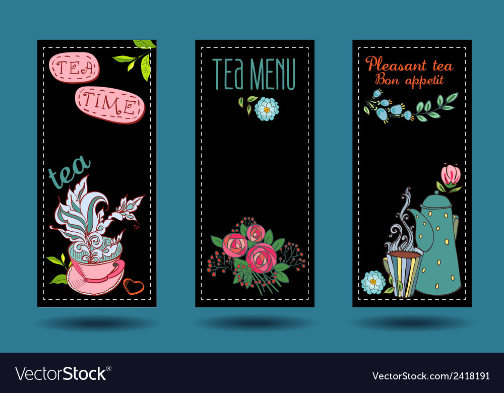 Banners with cups teapots and tea tea card vector | Price: 1 Credit (USD $1)