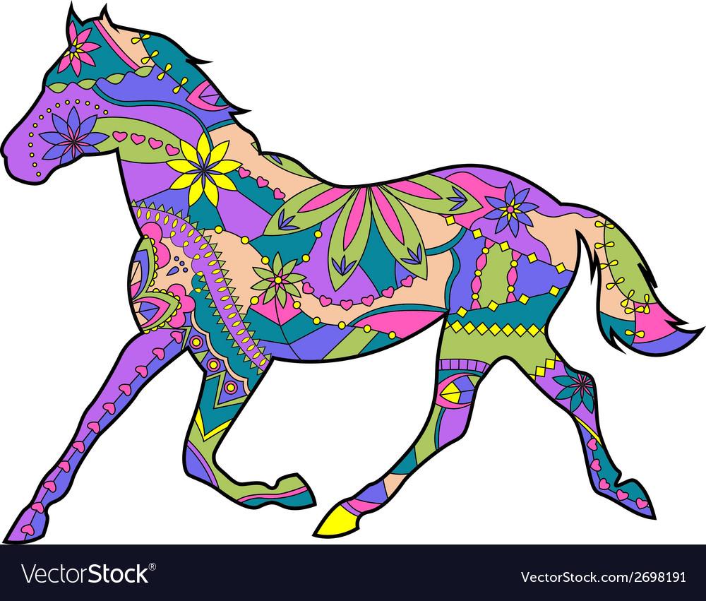 Horse runs trot vector | Price: 1 Credit (USD $1)