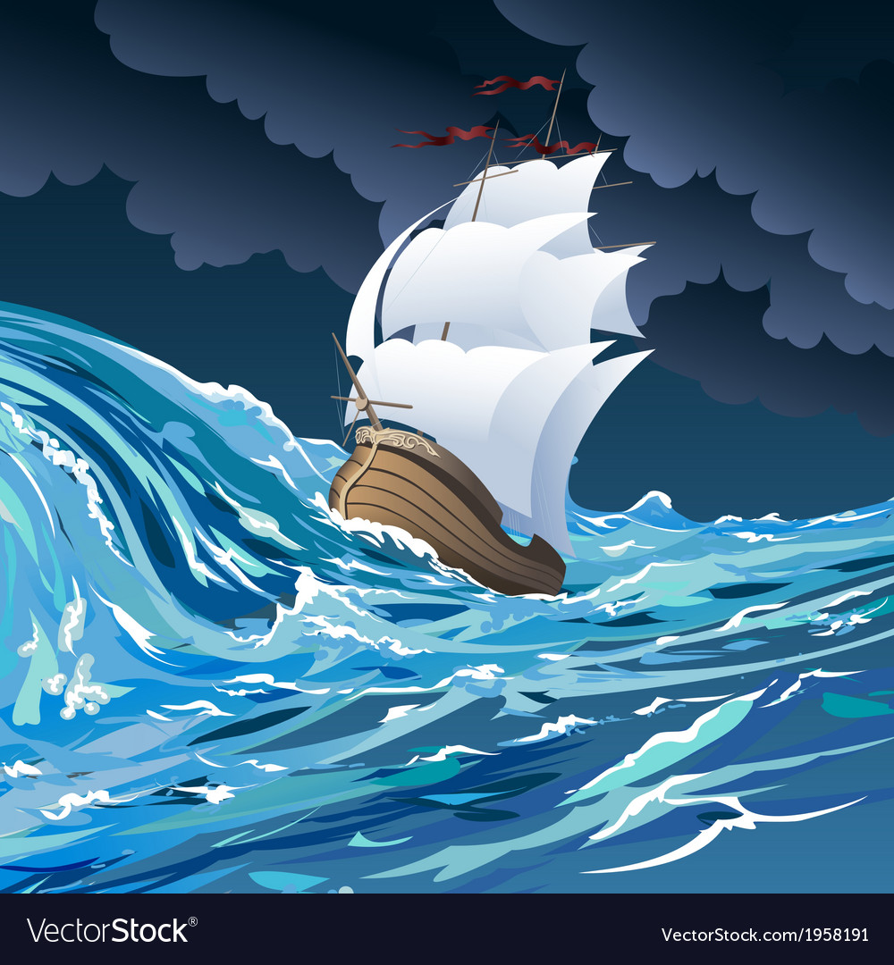The sail ship vector | Price: 3 Credit (USD $3)