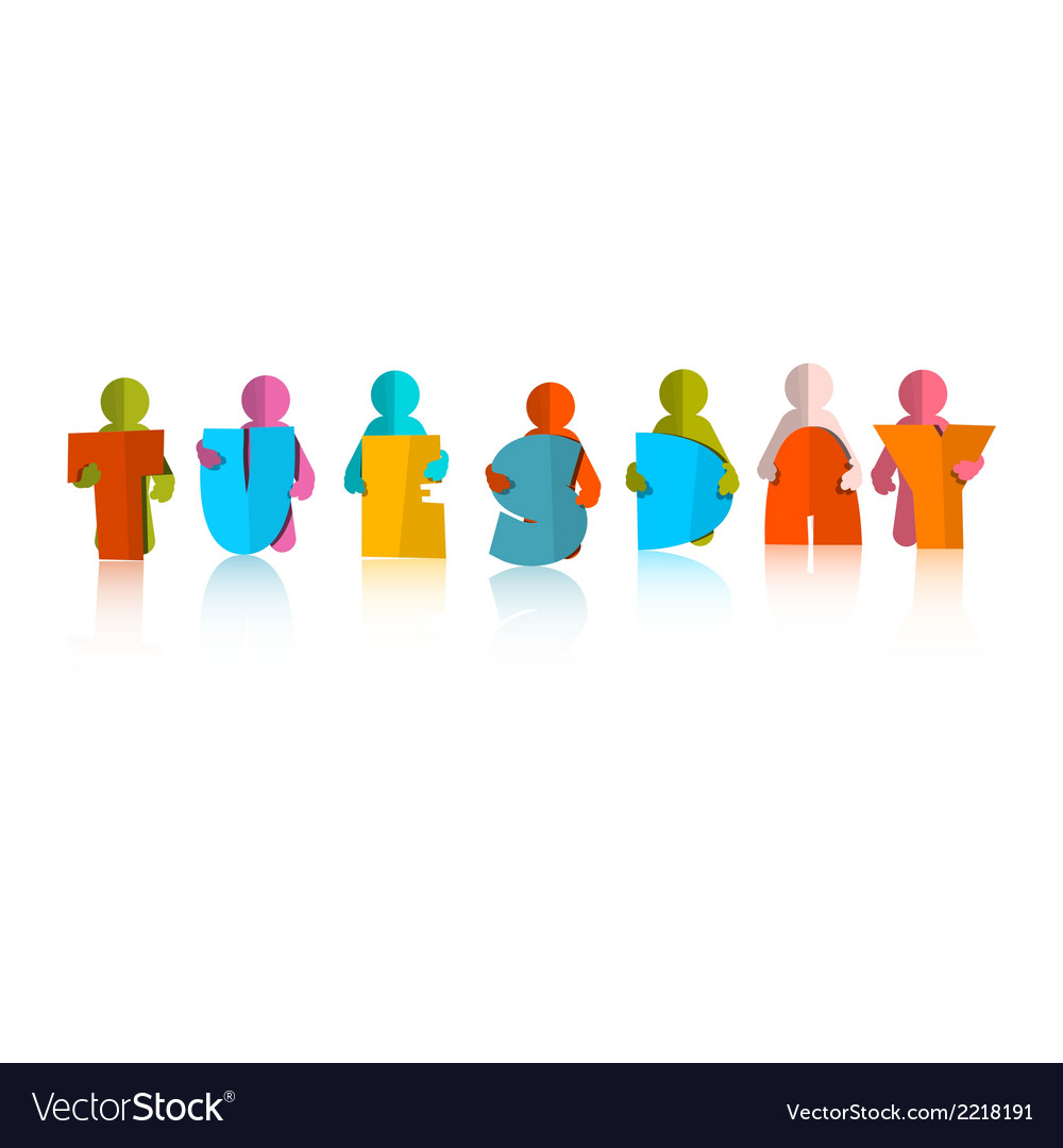 Tuesday colorful title - paper cut people and vector | Price: 1 Credit (USD $1)