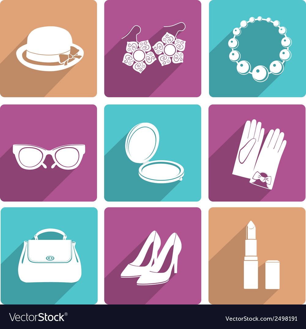 Woman accessories flat icons set vector | Price: 1 Credit (USD $1)