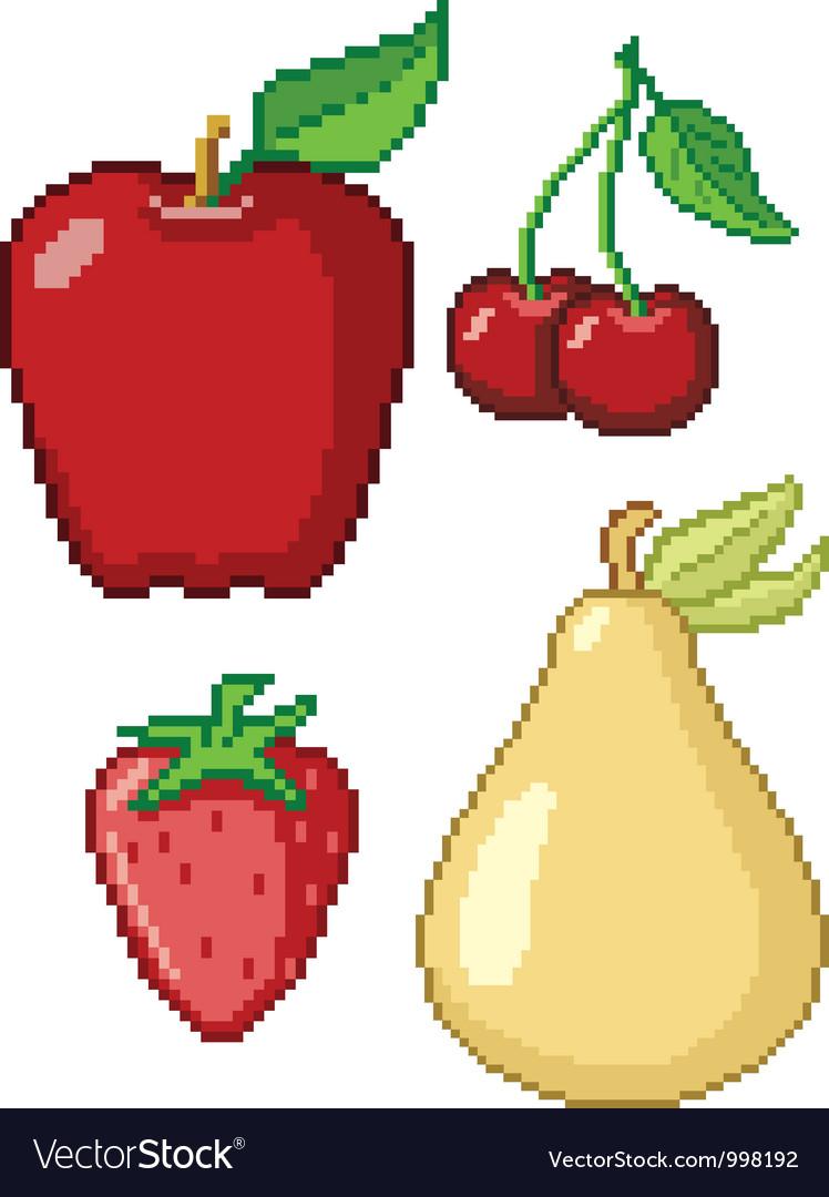8-bit fruit icons vector | Price: 1 Credit (USD $1)