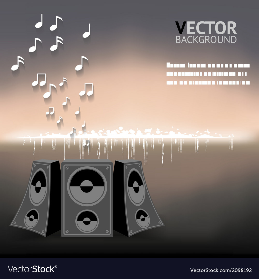 Abstract night music notes speaker background vector   Price: 1 Credit (USD $1)