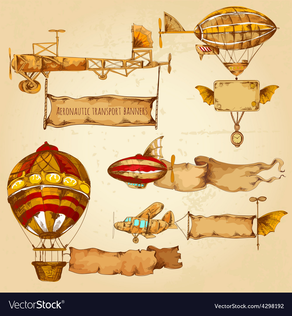 Airships with banners vector | Price: 1 Credit (USD $1)