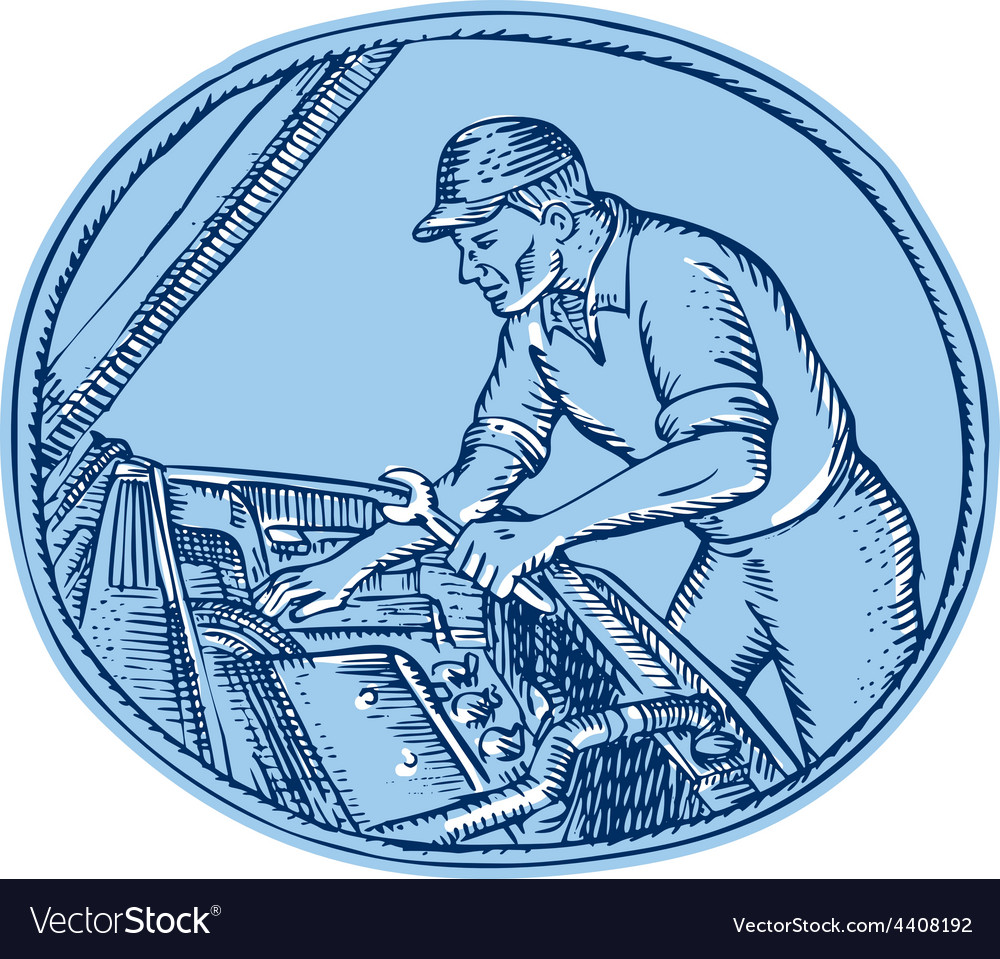 Auto mechanic automobile car repair etching vector | Price: 1 Credit (USD $1)