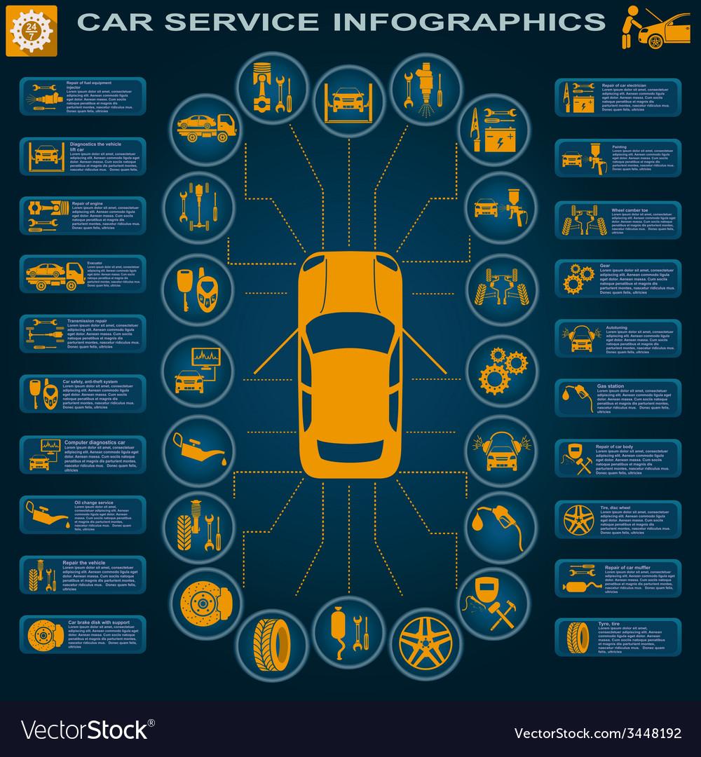Car service repair infographics vector | Price: 1 Credit (USD $1)