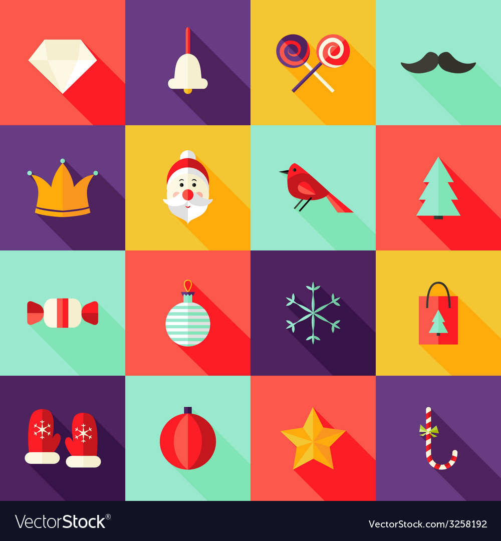 Christmas square flat icons set 1 vector | Price: 1 Credit (USD $1)