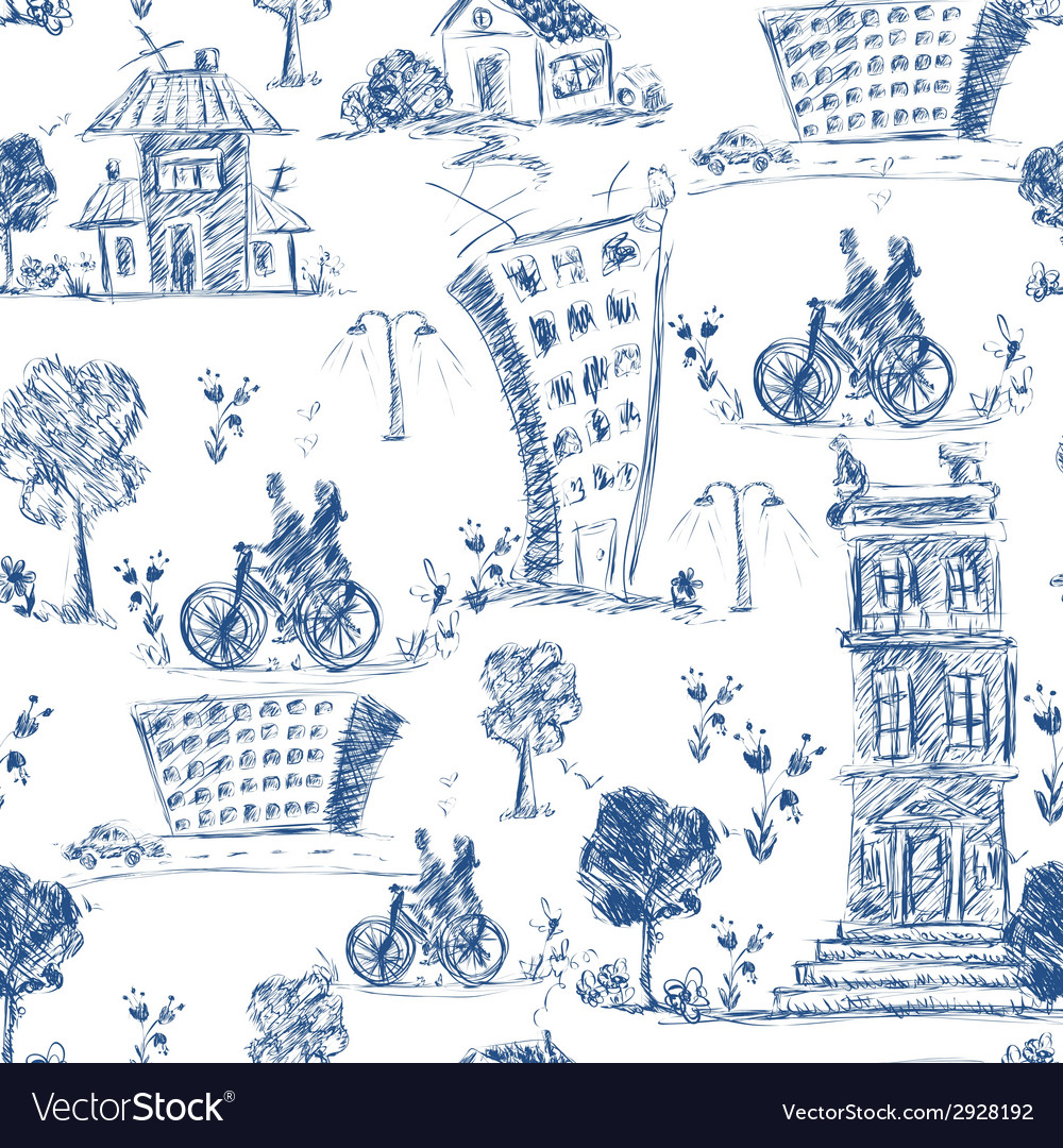 Doodle city seamless pattern vector | Price: 1 Credit (USD $1)