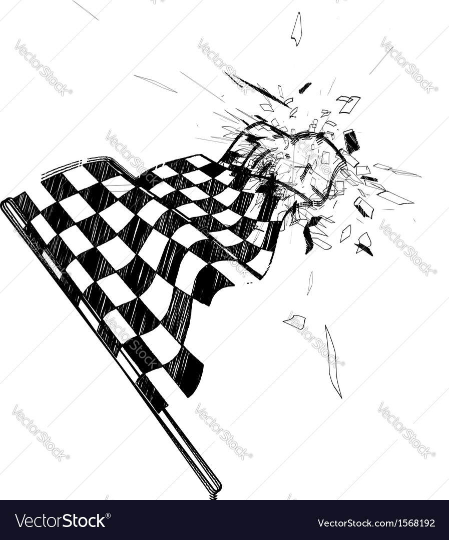 Drawing checkered flag in the dynamic style vector | Price: 1 Credit (USD $1)
