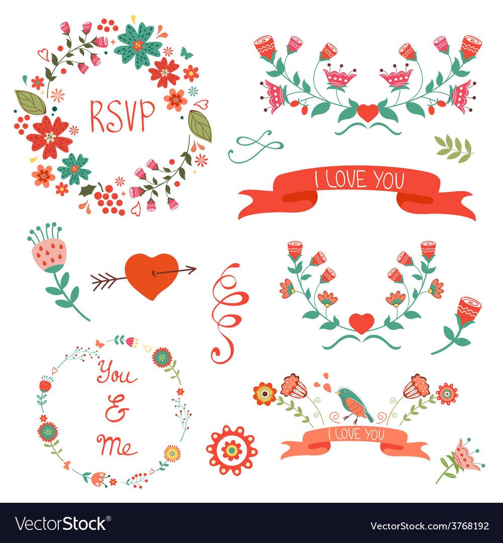 Elegant floral graphic elements vector | Price: 1 Credit (USD $1)