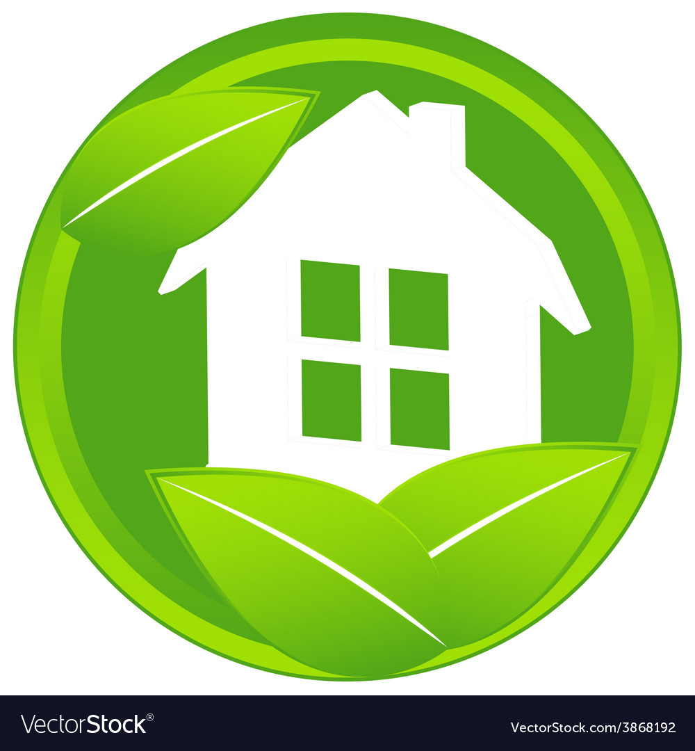 Home icon with leaf vector   Price: 1 Credit (USD $1)