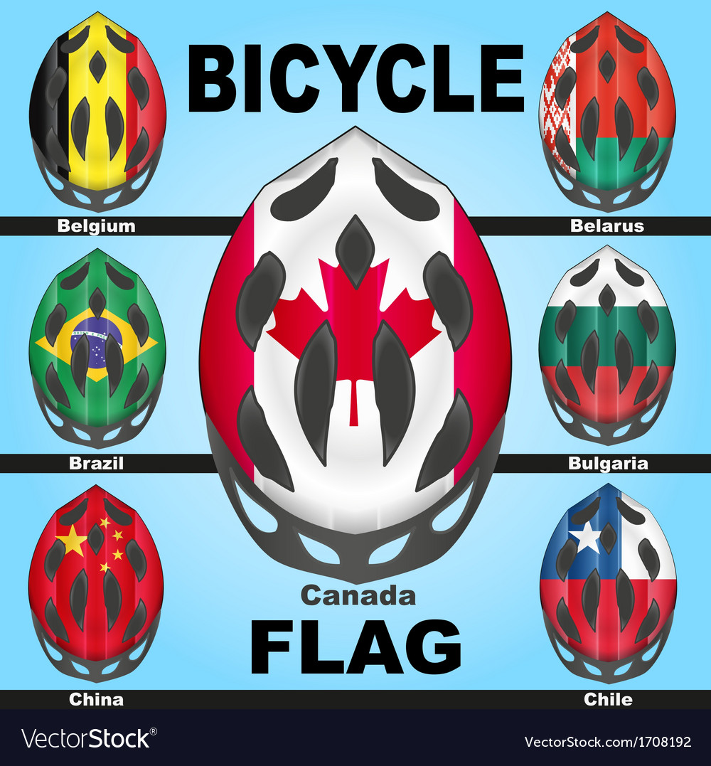 Icons bicycle helmets and flags countries vector | Price: 1 Credit (USD $1)