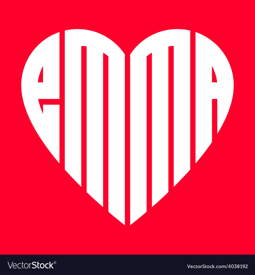Popular female name emma and heart vector | Price: 1 Credit (USD $1)