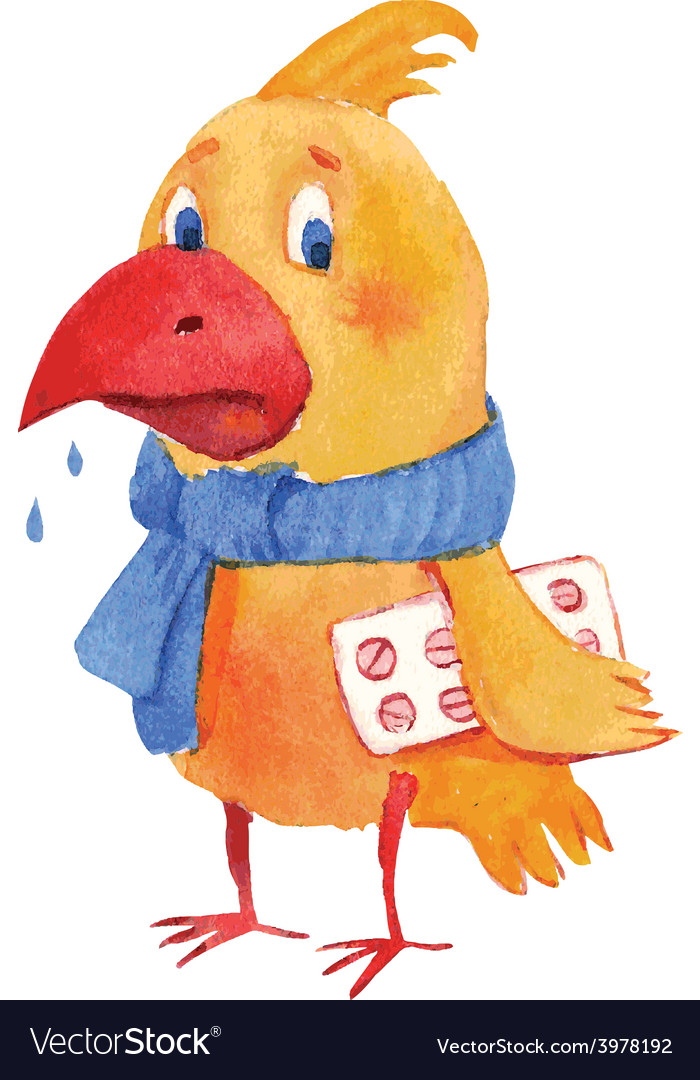 Sick bird vector | Price: 1 Credit (USD $1)