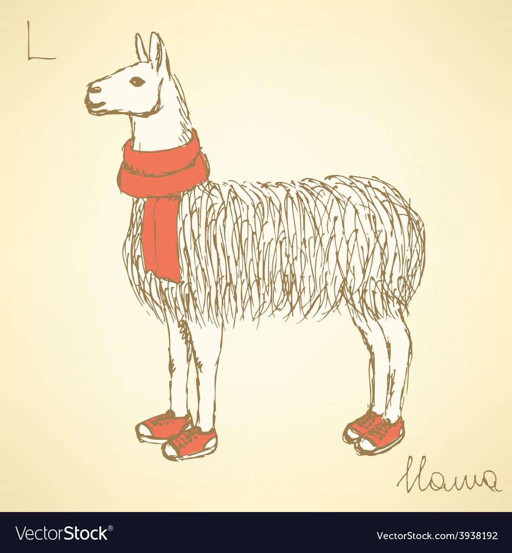 Sketch fancy llamal in vintage style vector   Price: 1 Credit (USD $1)