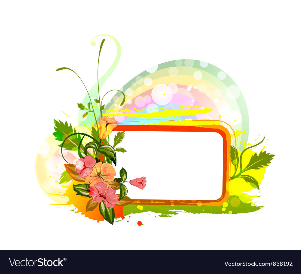Spring floral frame vector | Price: 1 Credit (USD $1)