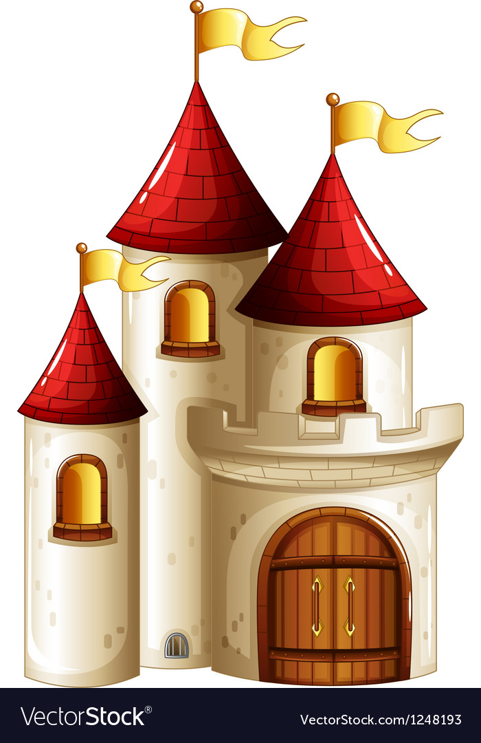 A castle with yellow banners vector | Price: 1 Credit (USD $1)