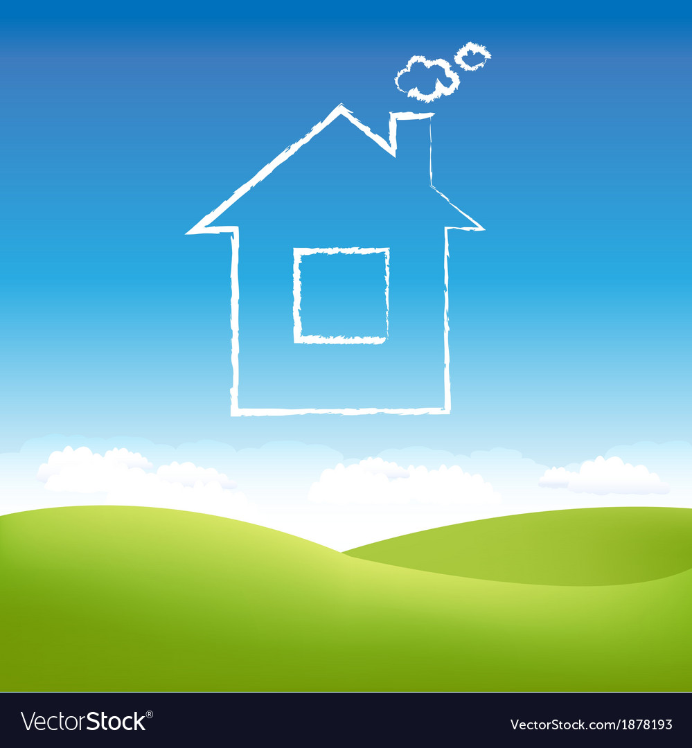 Abstract house in sky vector | Price: 1 Credit (USD $1)