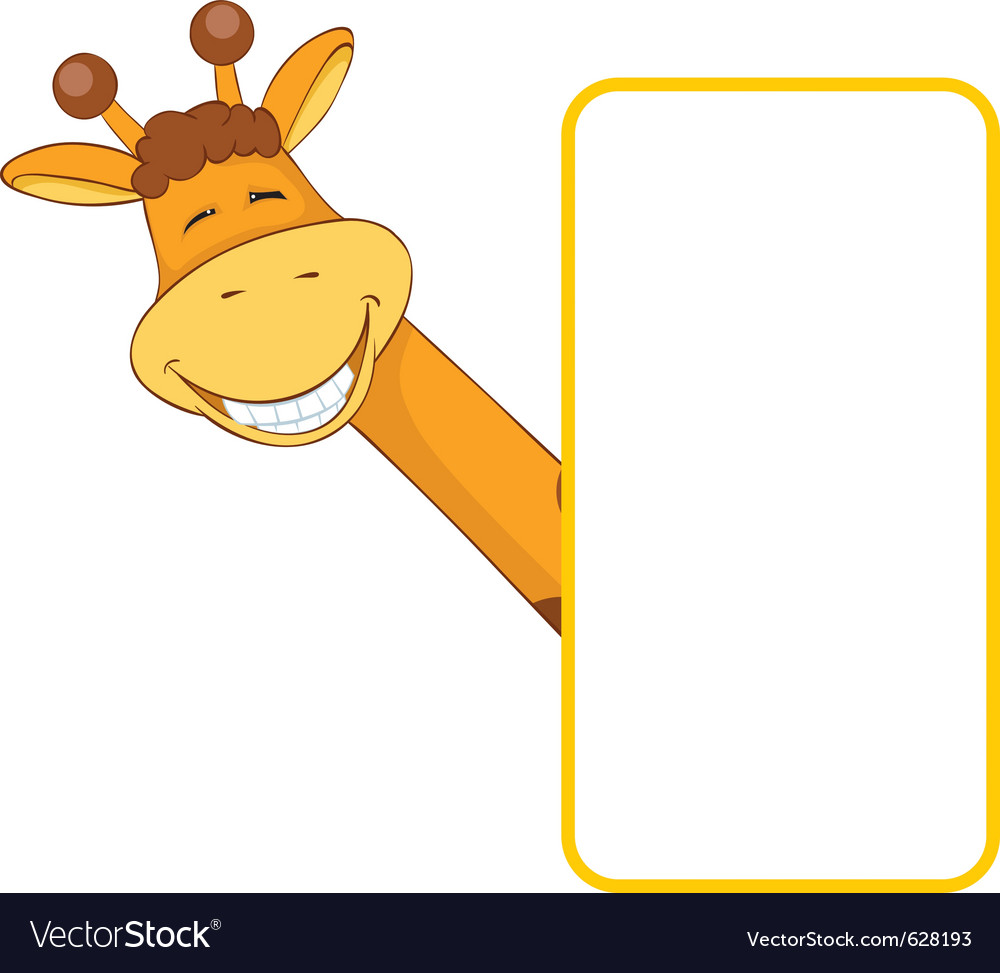 Baby animal banner giraffe cartoon label vector | Price: 1 Credit (USD $1)