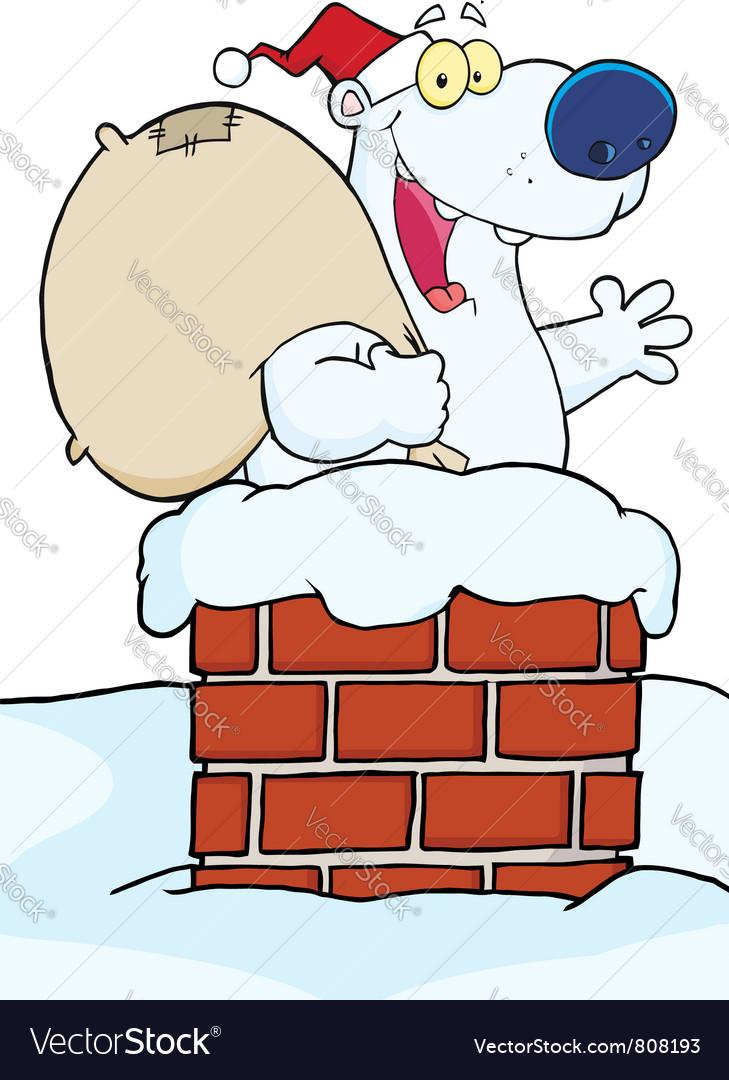 Christmas santa polar bear in a chimney vector | Price: 1 Credit (USD $1)