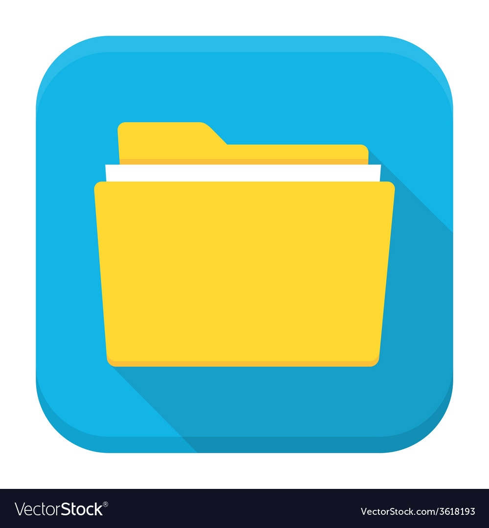 Folder with paper flat app icon with long shadow vector | Price: 1 Credit (USD $1)