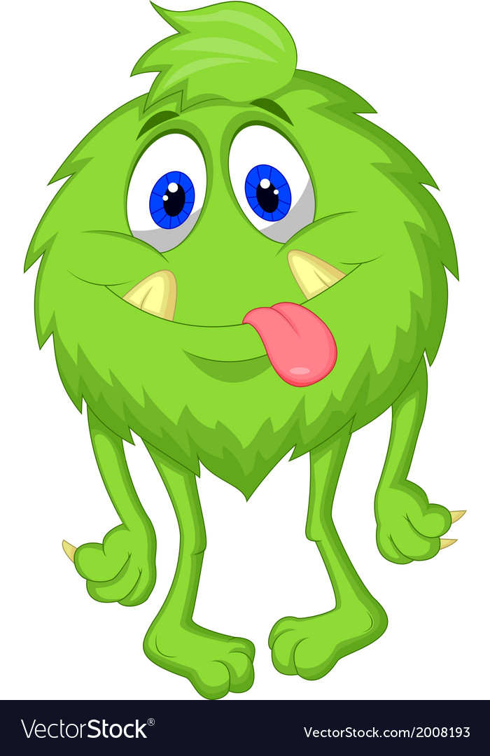 Hairy green monster cartoon vector | Price: 1 Credit (USD $1)