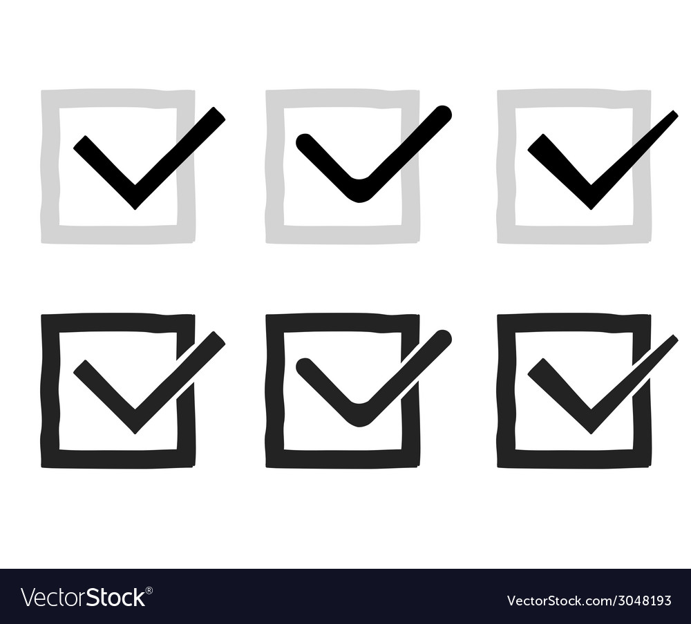 Hand drawn check marks or ticks confirm icons set vector | Price: 1 Credit (USD $1)