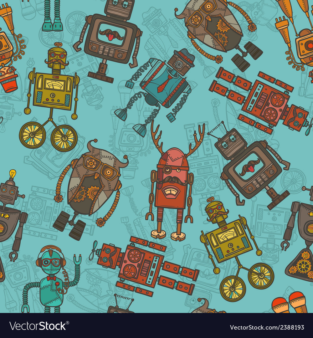 Hipster robot color seamless pattern vector   Price: 1 Credit (USD $1)