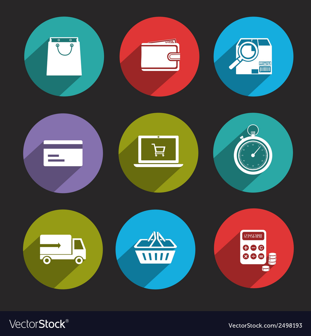 Online shopping icons flat vector | Price: 1 Credit (USD $1)