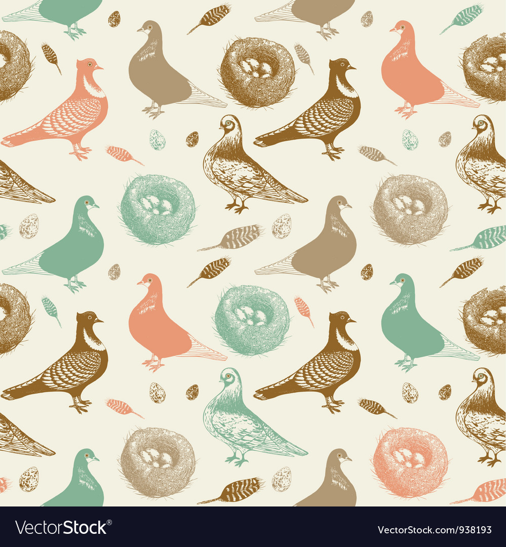 Retro pigeons pattern vector | Price: 1 Credit (USD $1)
