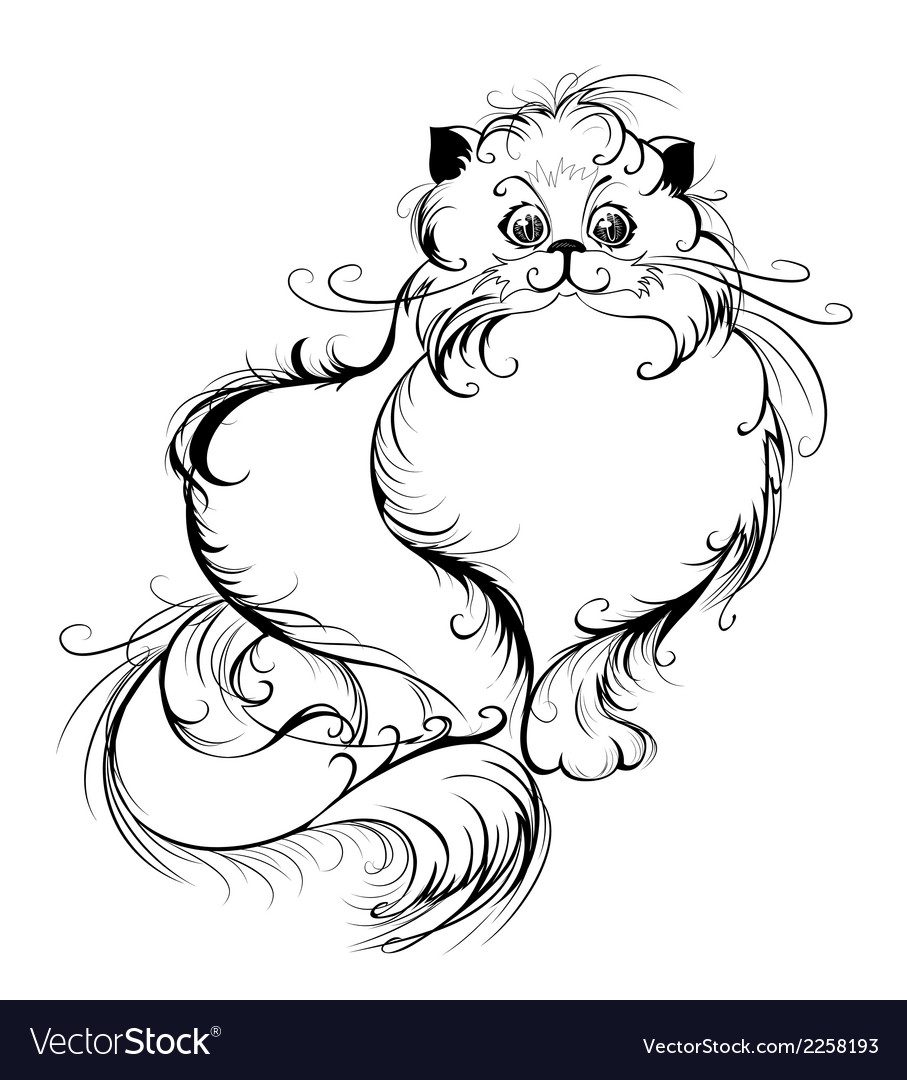 Stylized persian cat vector | Price: 1 Credit (USD $1)