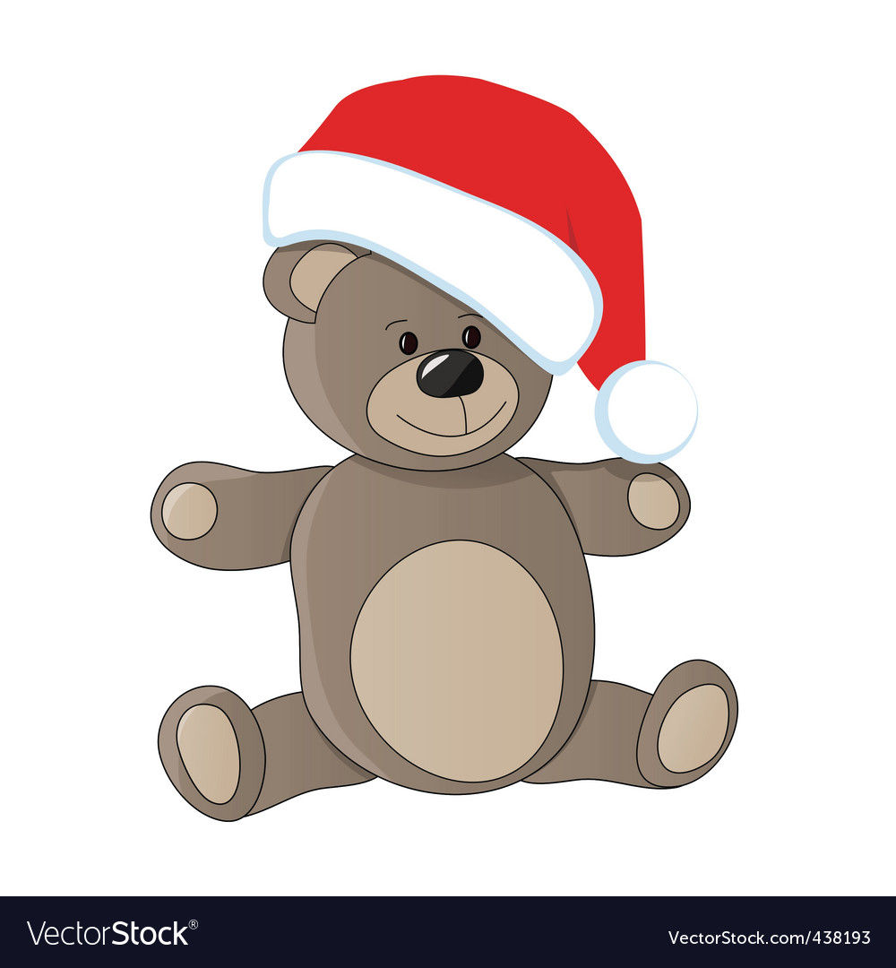 Teddy with christmas cap vector | Price: 1 Credit (USD $1)
