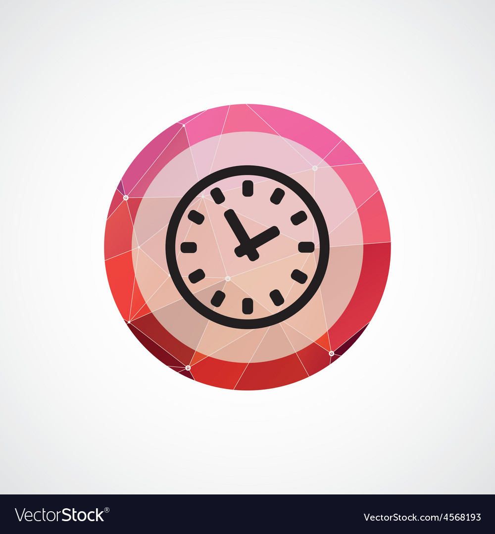 Time circle pink triangle background icon vector | Price: 1 Credit (USD $1)