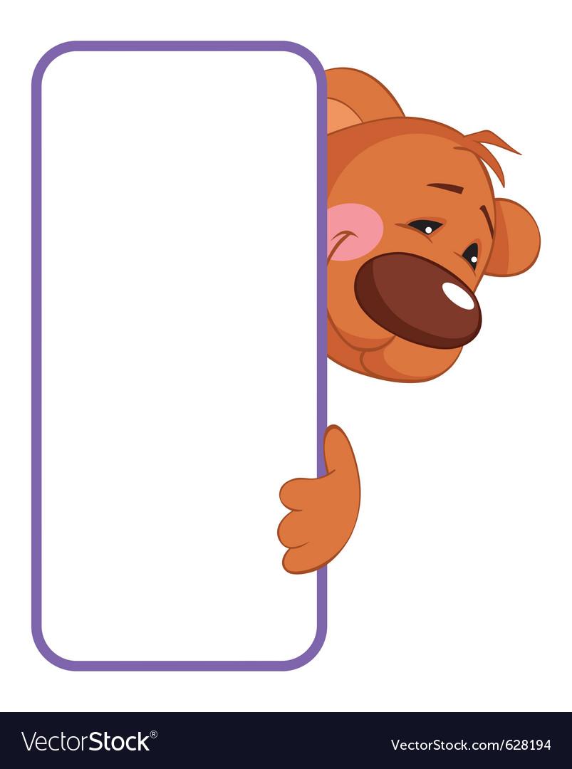 Baby animal banner bear cartoon label vector | Price: 1 Credit (USD $1)