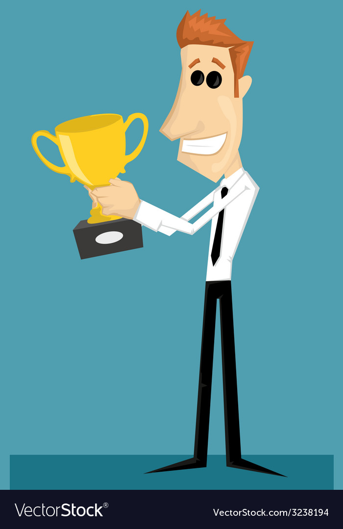 Cartoon office worker with with a trophy vector | Price: 1 Credit (USD $1)