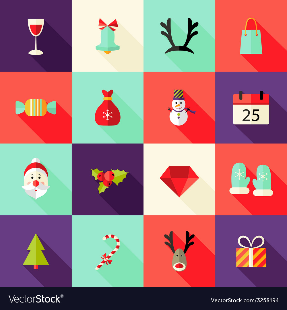 Christmas square flat icons set 2 vector | Price: 1 Credit (USD $1)