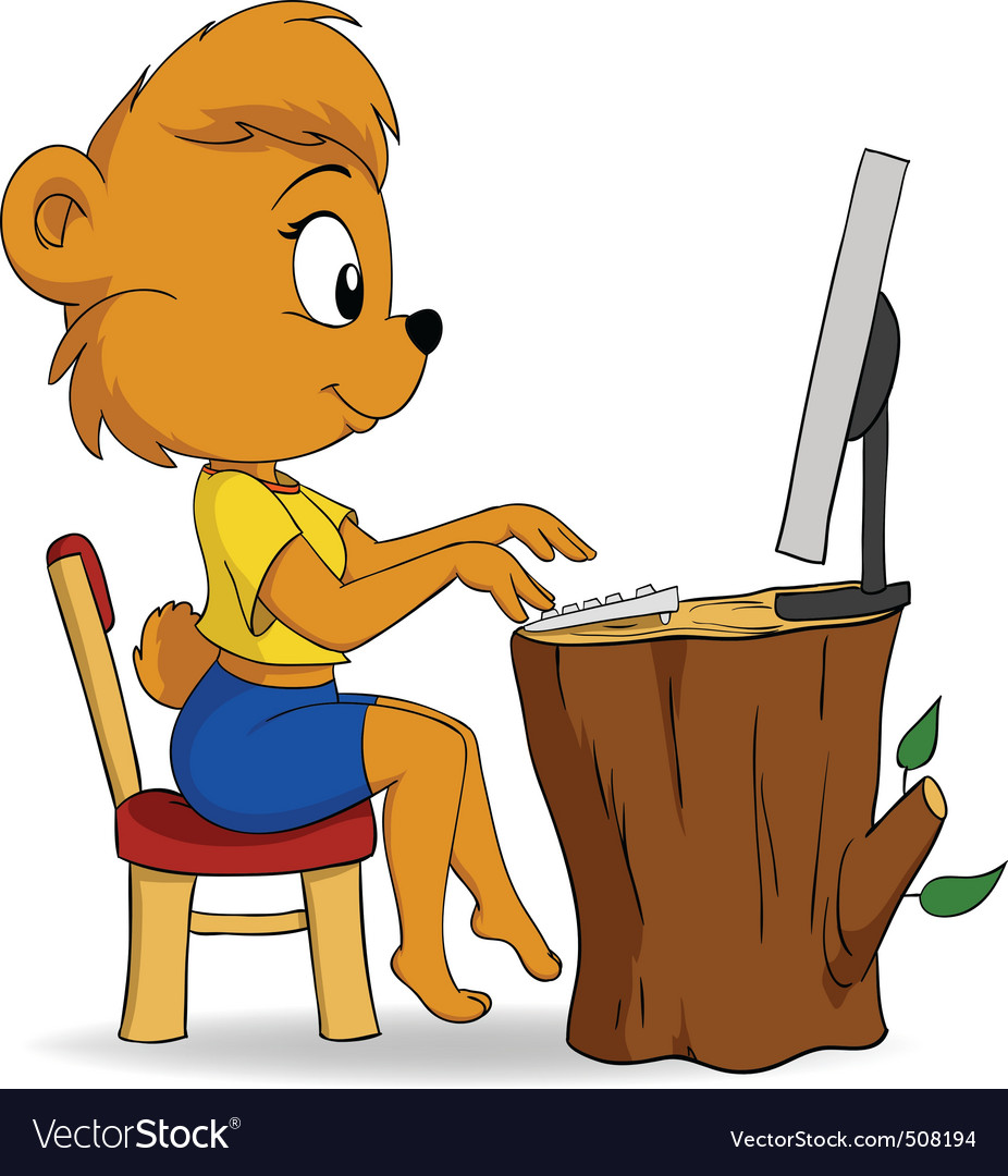 Cute female cartoon bear typing on computer vector | Price: 1 Credit (USD $1)