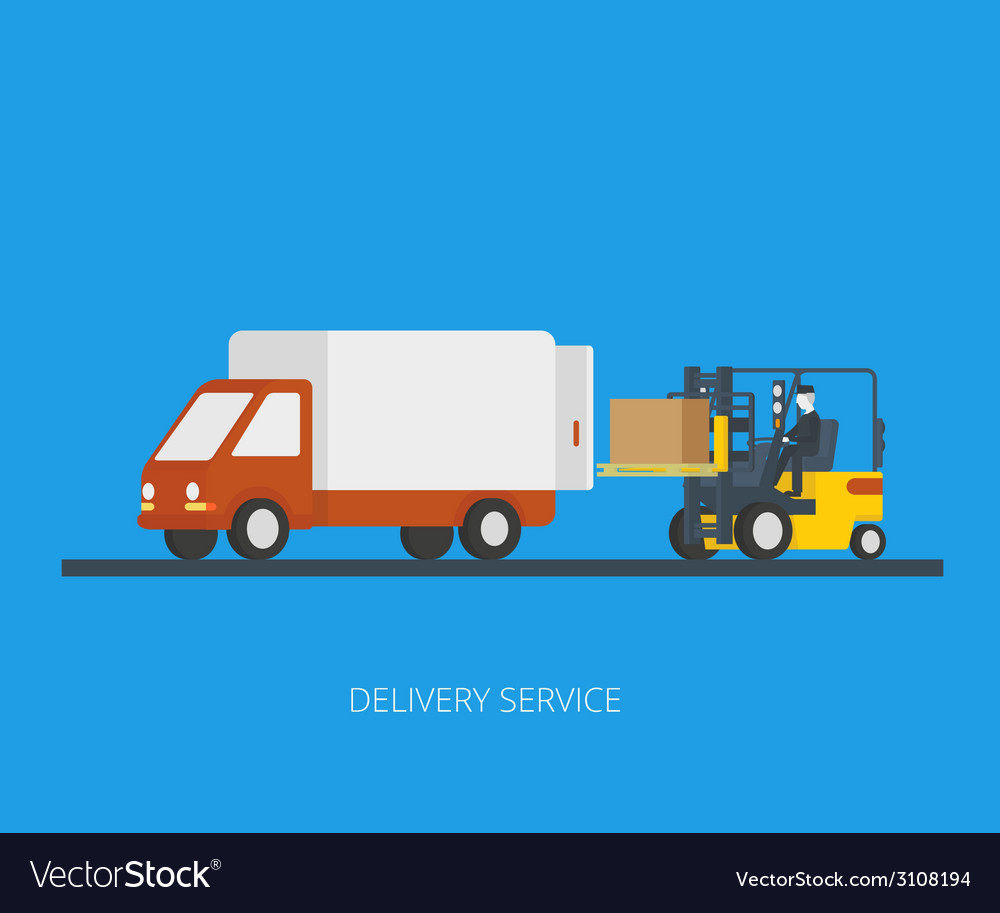 Delivery truck with forklift vector | Price: 1 Credit (USD $1)