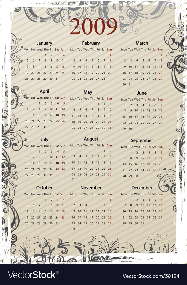 European grungy calendar vector | Price: 1 Credit (USD $1)