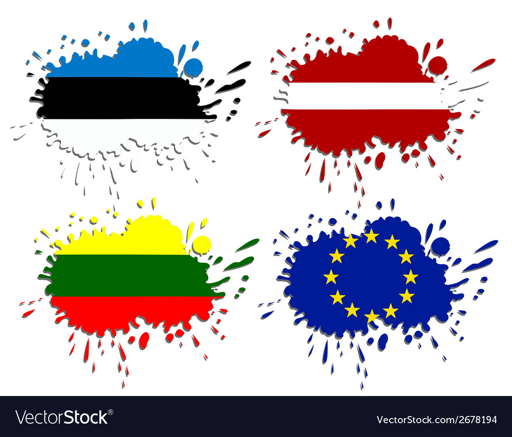 Flags of baltic as spots vector | Price: 1 Credit (USD $1)