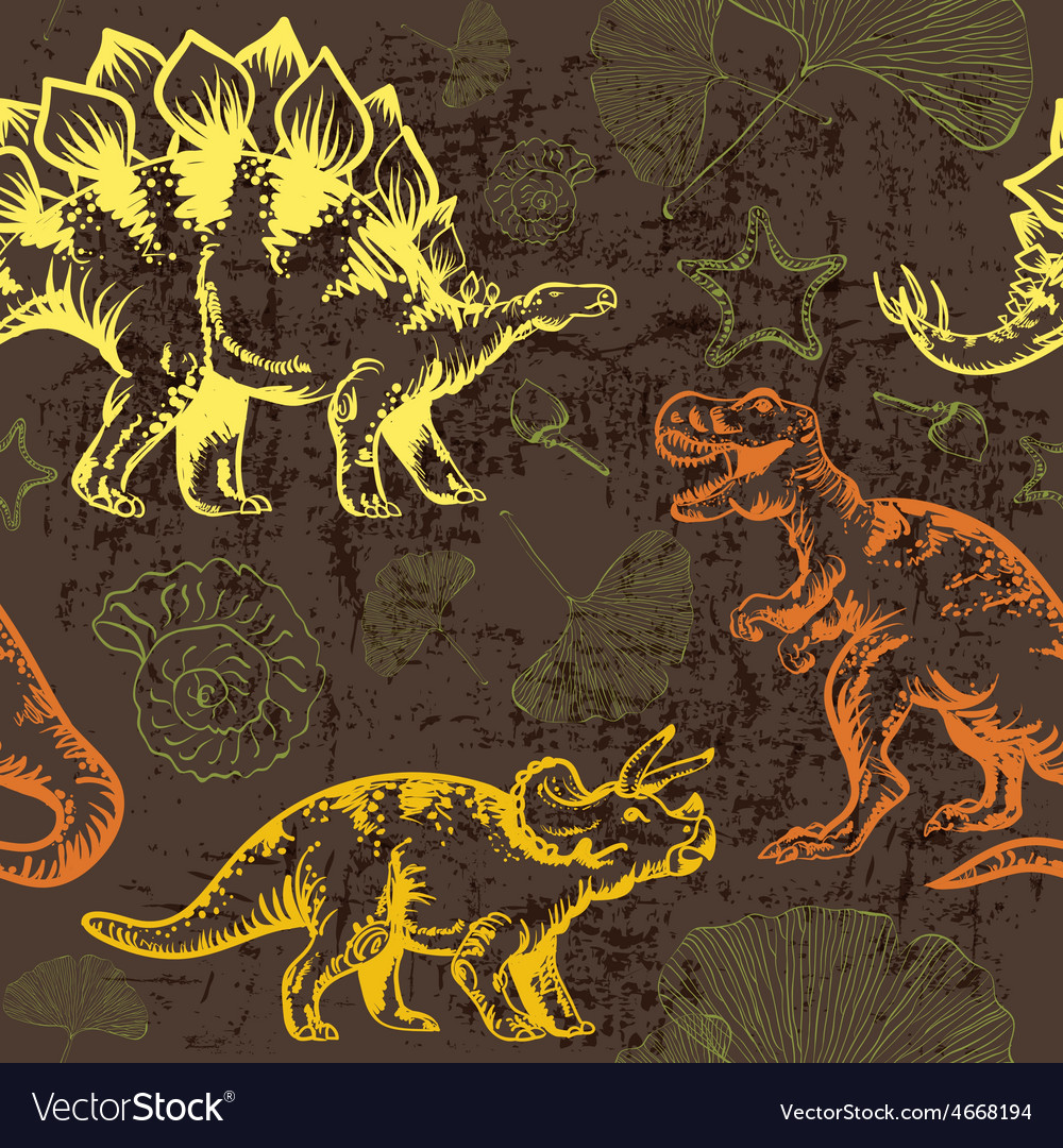 Jurassic dinosaur seamless pattern vector | Price: 1 Credit (USD $1)