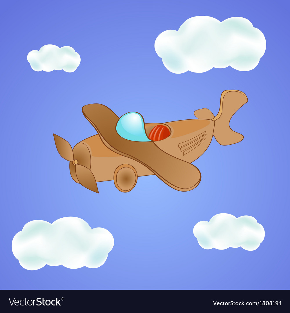 Little cute plane in the clouds vector | Price: 1 Credit (USD $1)