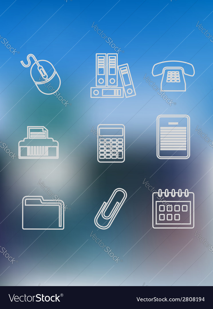 Office and business outline icons set vector | Price: 1 Credit (USD $1)