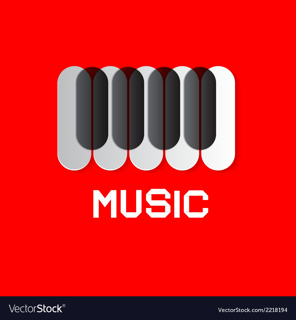 Piano keyboard on red abstract music background vector | Price: 1 Credit (USD $1)